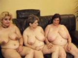 Trois grosses lesbiennes se godent la chatte et le cul